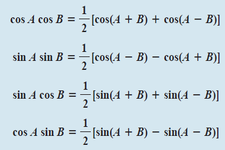 Concept Product to Sum Formulas for Sine and Cosine