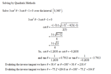 Concept Trigonometric Equations Using the Quadratic Formula